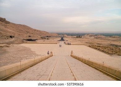 LUXOR, EGYPT - NOVEMBER 29, 2016: Ancient Deir el-Bahari or Dayr al-Bahri is a complex of mortuary temples and tombs located on the west bank of the Nile, opposite the city of Luxor, Egypt. Editorial.