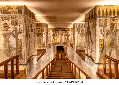 Luxor, Egypt - September 11, 2018: Tomb KV11 is the tomb of Ancient Egyptian Pharaoh Ramesses III. Located in the main valley of the Valley of the Kings.