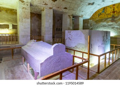 Luxor, Egypt - September 11, 2018: Tomb KV8, located in the Valley of the Kings, was used for the burial of Pharaoh Merenptah of Ancient Egypt's Nineteenth Dynasty