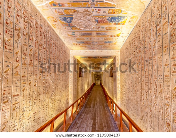 Luxor, Egypt - September 11, 2018: Tomb KV2 in the Valley of the Kings is the burial place of Ramesses IV