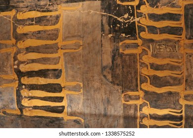 LUXOR, EGYPT Unique shot of the Ramesses VI tomb in Valley of the Kings. Beautiful mural, carving and well-preserved egyptian hieroglyphs.