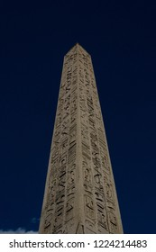 Luxor Obelisk - Ancient Egyptian granite obelisk, originally from Luxor, with hieroglyphs and a gold-leafed top. Place de la Concorde, Paris