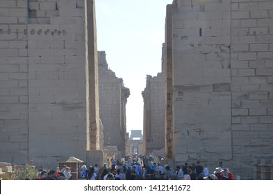Luxor/Egypt_19 Feb 2019: The Karnak Temple Complex, commonly known as Karnak comprises a vast mix of decayed temples, chapels, pylons, and other buildings near Luxor, in Egypt. The beautiful entrance