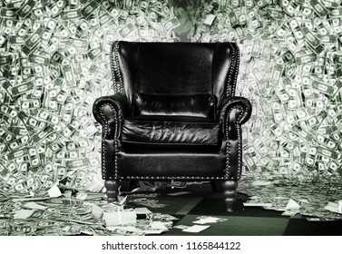 luxuary leather sofa seat in money mountain rich man concept