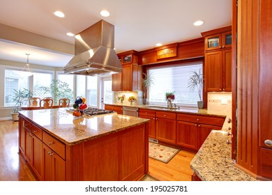 Luxuriant kitchen interior. View of storage combination, kitchen island and dining area