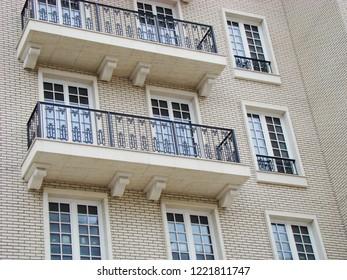 Luxurious apartament house with a white facade