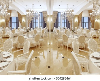 Luxurious ballroom, with white tables and large curtained Windows. 3D render.