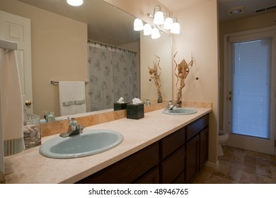 Luxurious bathroom with double sink