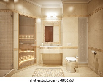 Luxurious bathroom interior design in classic style with beige tiles gold decor and sauna. 3d render.