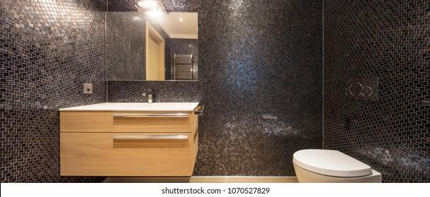 Luxurious bathroom in modern apartment. Nobody inside