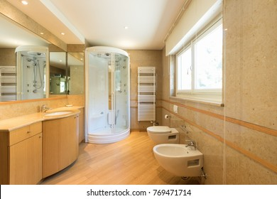 Luxurious bathroom with upholstery. Nobody inside