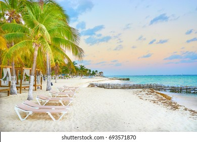 luxurious beach lounge at Isla Mujeres in Mexico / Relaxing at caribbean beach / perfect vacations
