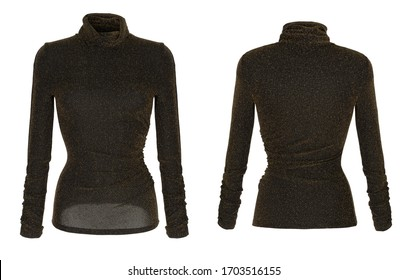 Luxurious beautiful female turtleneck, black with gold threads, front and back view, clipping, ghost mannequin, isolated on white background