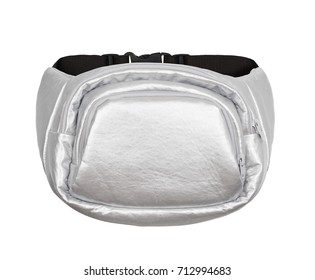 Luxurious beautiful silver shiny leather waist bag on a white background