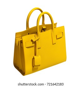 Luxurious beautiful yellow leather female bag on a white background