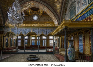The luxurious and beautifully decorated Throne Room of Topkapi Palace harem. Istanbul, Turkey, October 2018