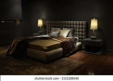 Luxurious bedroom design with shady photography technique