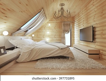 Luxurious bedroom in modern style, with a roof window in the log house. TV with a media console. 3D render.