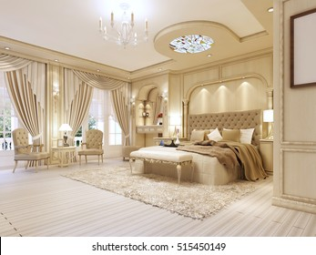 Luxurious bedroom in pastel colours in a neoclassical style, with a large bed and a dressing table with TV unit. 3D render.