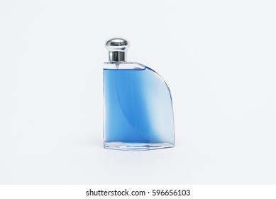 Luxurious Blue Cologne Isolated on White Background