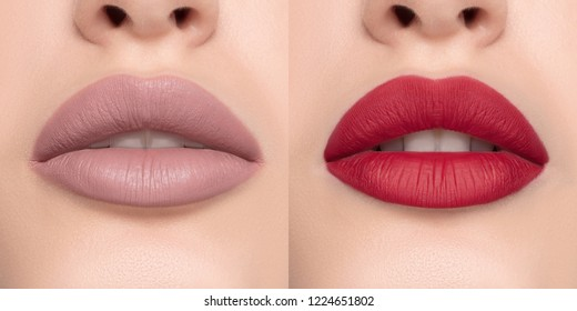 Luxurious bright beautiful female lips made up with lipstick and tint, various shades, matte beige and pink, make-up, for design, set, mock-up