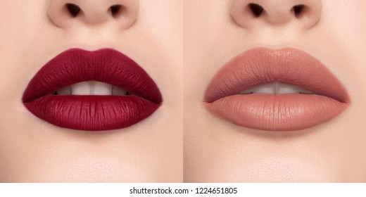 Luxurious bright beautiful female lips made up with lipstick and tint, various shades, matte beige and deep red, make-up, for design, set, mock-up