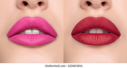 Luxurious bright beautiful female lips made up with lipstick and tint, various shades, matte red and pink, make-up, for design, set, mock-up