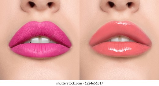 Luxurious bright beautiful female lips made up with lipstick and tint, various shades, pink, matte and glossy, make-up, for design, set, mock-up