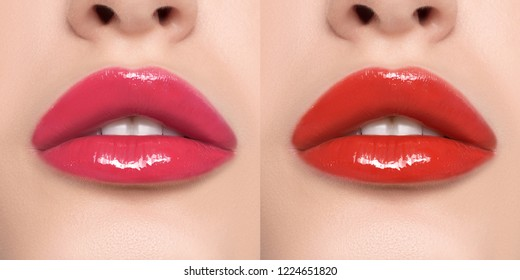 Luxurious bright beautiful female lips made up with lipstick and tint, various shades, red, pink, glossy, make-up, for design, set, mock-up