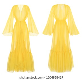 Luxurious bright yellow transparent designer robe chiffon dress, wide sleeves, front and back view, clipping, isolated on white background, ghost mannequin