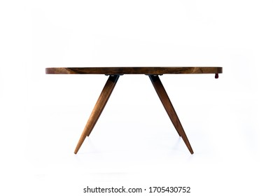 Luxurious chestnut table with a epoxy resin on a white background, side view