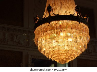 Luxurious chrystal chandelier found in a rich manor house.