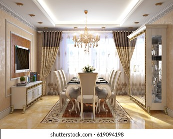 Luxurious Classic Baroque Kitchen and Dining Room Interior Design with White Wood Gold Furniture and Wooden Marble Floor, Fireplace and TV zone. 3d render.