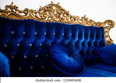 Luxurious classic handmade furniture, carved gold elements. Barocco, rococo, vintage style.