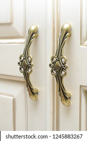 Luxurious classic handmade furniture, white gold carved elements. Barocco, rococo, vintage style.