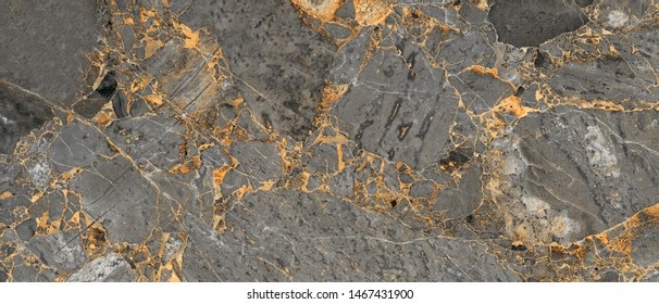 Luxurious Dark Grey Agate Marble texture with Golden veins. Polished Quartz Stone Background Striped by nature with a unique patterning, it can be use for interior-exterior and ceramic tile surface.