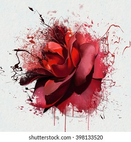 Luxurious deep red rose closeup on a white background, with elements of the sketch and spray paint, as print for clothes, cover notebook