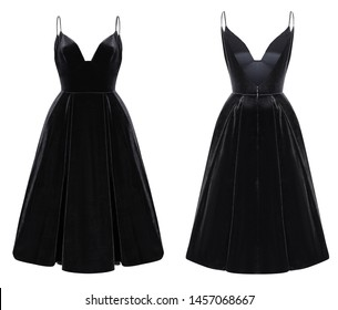 Luxurious female black velvet midi dress with straps with corset, mockup, front and back view, ghost mannequin, isolated on white background, clipping
