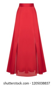 Luxurious female fashionable evening long satin red silk skirt, clipping, isolated on white background, ghost mannequin
