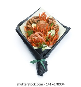 Luxurious gift to friends in the form of a bouquet of cooked shrimps, crayfish, crab on a white background