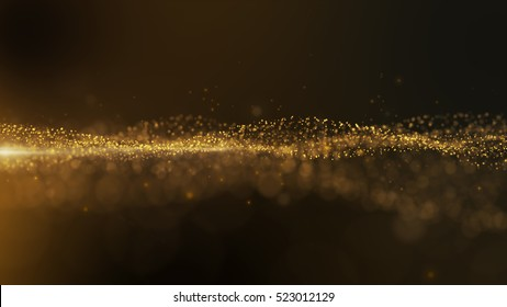 Luxurious gold sparkling particles wave background