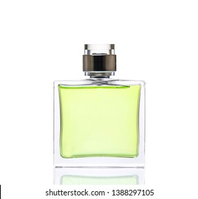 Luxurious green  perfume. Feminine beauty concept / studio photography of perfume bottle - isolated on white background. Close-up.