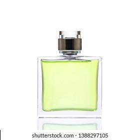 Luxurious green  perfume. Feminine beauty concept / studio photography of perfume bottle - isolated on white background. Close-up.
