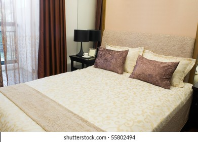 Luxurious hotel room with king sized bed