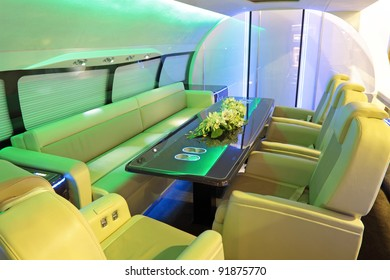The luxurious interior of the plane of business class