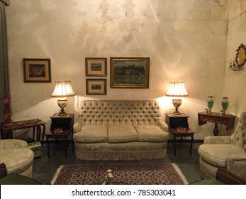 Luxurious interior in the vintage style. Luxury interior of home. Sitting room with elegant furniture.