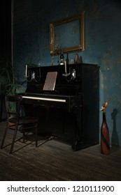 Luxurious interior in the vintage style with old piano