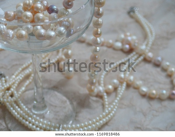 Luxurious Jewelry Set Consists Pearl Necklace Stock Photo Edit