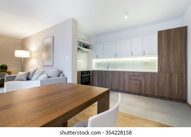 Luxurious kitchen with living area in background