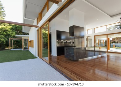 Luxurious kitchen and living room in new mansion